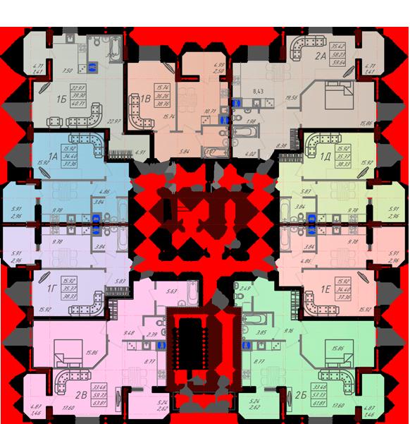 Дом №10 секция А типовой этаж