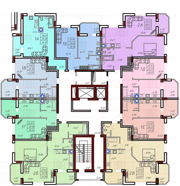 Дом №10 секция Б типовой этаж